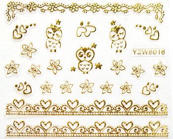 Guldfärgade stickers som är självhäftande.