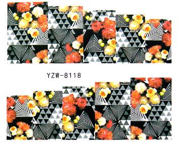 Geometriska mönster och blommor för naglarna i form av nageldekaler.