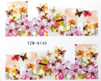 Blommiga vattendekaler i rosa och orangea toner.