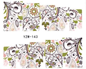 Vattendekaler med löv och abstrakta former.