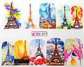 Nageldekaler i glada färger med Eiffeltornet