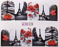 Vattendekaler med blommor och Eiffeltornet.