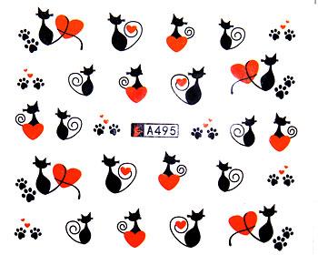 Söta nageldekaler med katter och hjärtan.