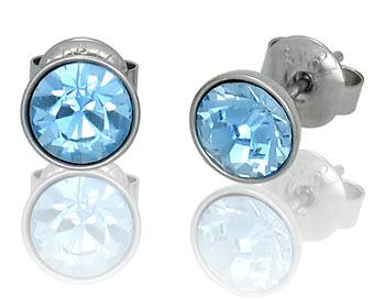 Örhängen i kirurgiskt stål med 6mm blåa Swarovski kristaller