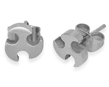 Stålörhängen gjorda i kirurgiskt stål.
