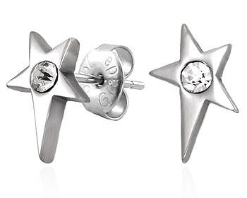 Örhängen stålstjärna med cz-sten.