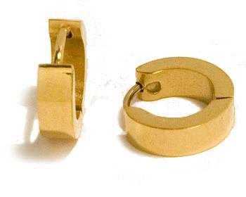 Guldfärgade stålörhängen. Bredd cirka 4 mm, diameter cirka 14 mm.