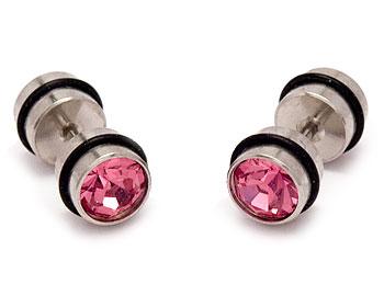 Rosa örhängen i stål. Diameter cirka 8 mm.