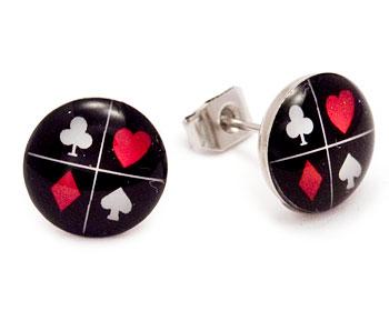Pokerörhängen i stål. Storlek cirka 10 mm.