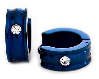 Blåa örhängen online. Diameter cirka 14 mm, bredd cirka 5 mm.