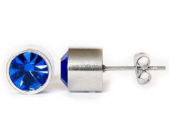 Blåa örhängen online 8 mm i diameter och cirka 7 mm i höjd.