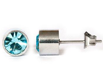 Ljusblåa örhängen 6 mm i diameter och höjd cirka 5 mm.