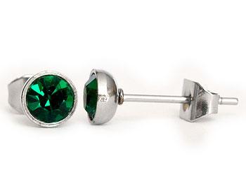 Gröna örhängen 5 mm i diameter.