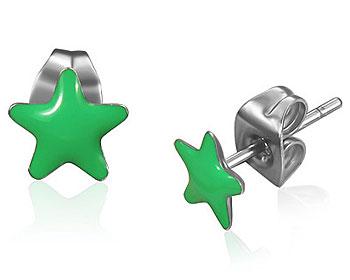 Gröna stjärnörhängen.