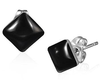 Svarta örhängen i stål.