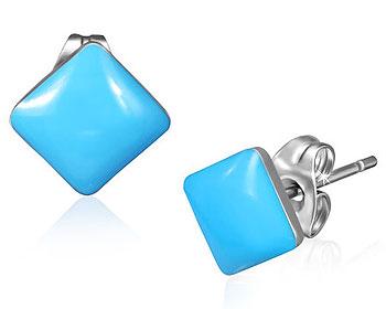 Fyrkantiga örhängen i stål.