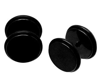 Svarta stålörhängen med gummikant.