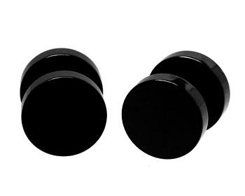 Svarta stålörhängen.