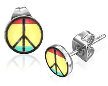 Örhängen  med fredsmärke.