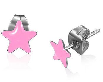 Rosa stjärnörhängen.