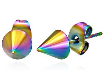 Regnbågsfärgade konformade örhängen i kirurgiskt stål. Diameter ca 6,3mm.