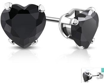 Svarta hjärtörhängen. 4 mm.