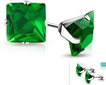 Gröna örhängen i stål. 4 mm.