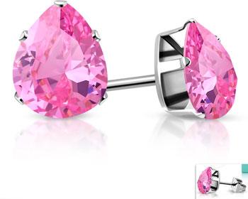 Rosa örhängen. 4x6 mm.