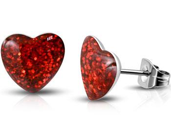 Hjärtformade örhängen. 7 mm.