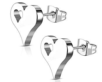 Hjärtörhängen i stål. Storlek cirka 9x9 mm. Ofärgade.
