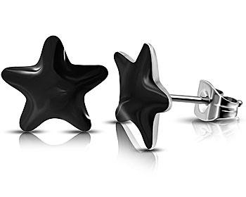 Svarta stjärnörhängen. Storlek cirka 6x7 mm.