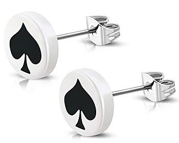 Billiga örhängen online. Örhängena är tillverkade i stål och akryl och har diametern cirka 10 mm.