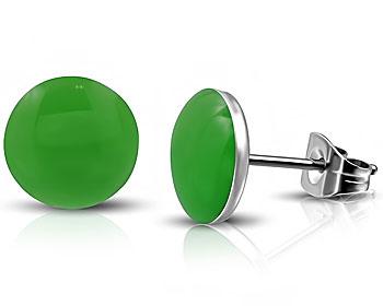 Gröna örhängen i stål. Diameter cirka 7 mm.