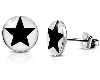 Stålörhängen med svart stjärna. Diameter cirka 10 mm.