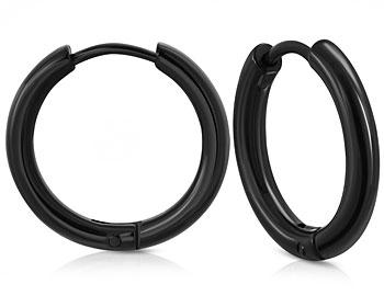 Svarta kreolörhängen. Storlek 15x2,5 mm.