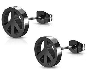 Svart fredsmärke i stål. Diameter cirka 6 mm.