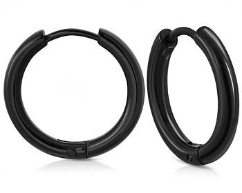 Svarta kreolörhängen i stål. Mått cirka 20x2 mm.