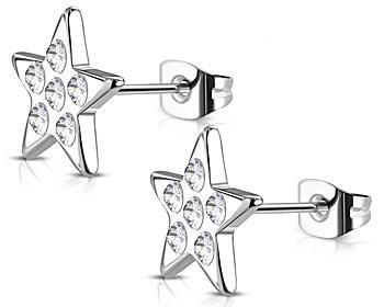 Stjärnörhängen. Stål. Mått cirka  12x11 mm.