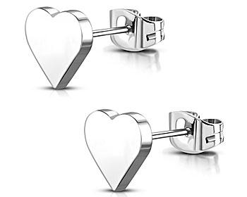 Hjärtörhängen i stål. Mått cirka 8x7 mm.