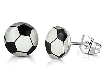 Fotbollsörhängen. Diameter cirka 7 mm.