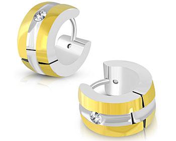 Guldfärgade örhängen i stål. Mått cirka 7x13 mm.