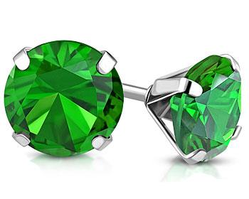Gröna örhängen i stål. 6 mm.