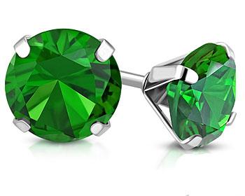 Gröna örhängen i stål. Diameter cirka 8 mm.