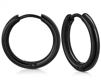 Svarta creolörhängen. Diameter cirka 25 mm, tjocklek cirka 2.5 mm.