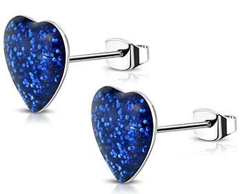 Blåa hjärtörhängen. 7 mm.