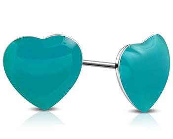 Hjärtformade örhängen. 8 mm.