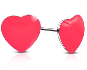 Rosa hjärtörhängen. 8 mm.