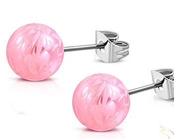 Rosa stiftörhängen. 6 mm.