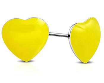 Gula örhängen, hjärta. 8x8 mm.