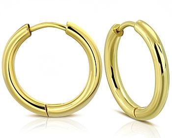 Guldfärgade örhängen. 18x2 mm.